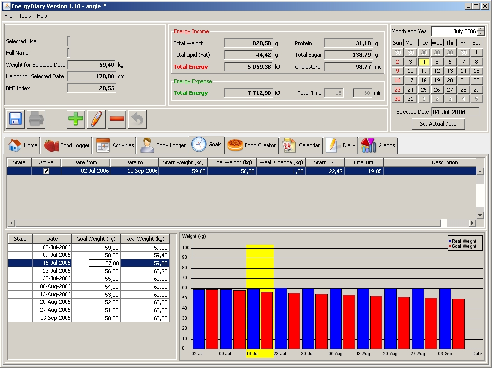 Click to view Energy Diary 1.10 screenshot